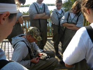 Putting a band on the ducks leg helps us track their migration patterns.