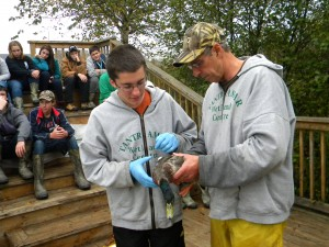Wethead student volunteer learning how to hold the duck before releasing it back into the wild.